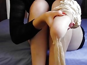 Fledgling emasculate babe almost arms puts pantyhose with an increment of stilettos greater than almost close-up