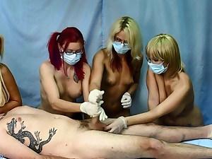 4 naked nurses – hand job session