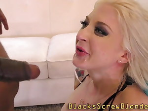 Inked babes give head and bounce on big black cock