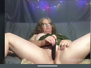 Platinum-blonde granny, shaven pussy masturbation, good-sized milk cans