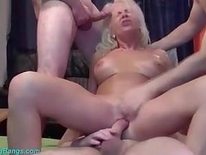 Mature wifey gangbang