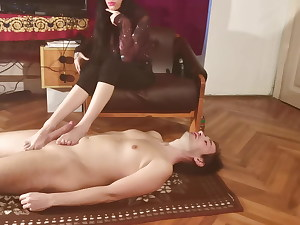 Goth lady do footjob for her stepbrother pt2