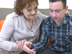 close-up of granny and grandson trying taboo sex, POV, petite