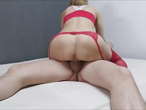 Amateur blonde wife railing creampie