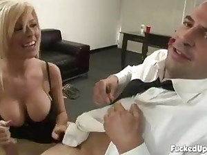 Her chief needs a handjob to keep her employed