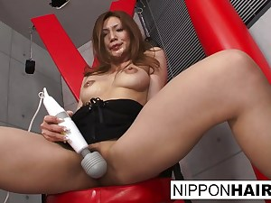 Asian beauty fapping with a giant milky dildo