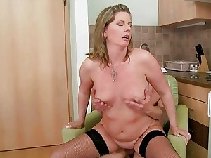 Grandma gives blowjob coupled with gets ridged beside close to caboose